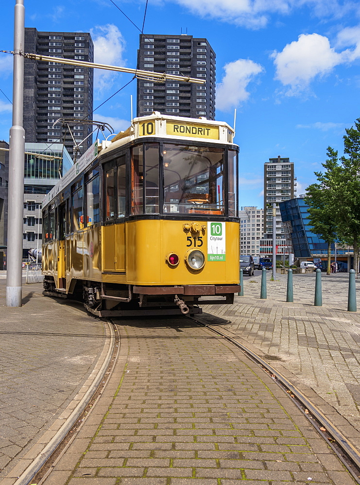 Vintage Tram in Rotterdam, South Holland, The Netherlands, Europe - 1245-1053