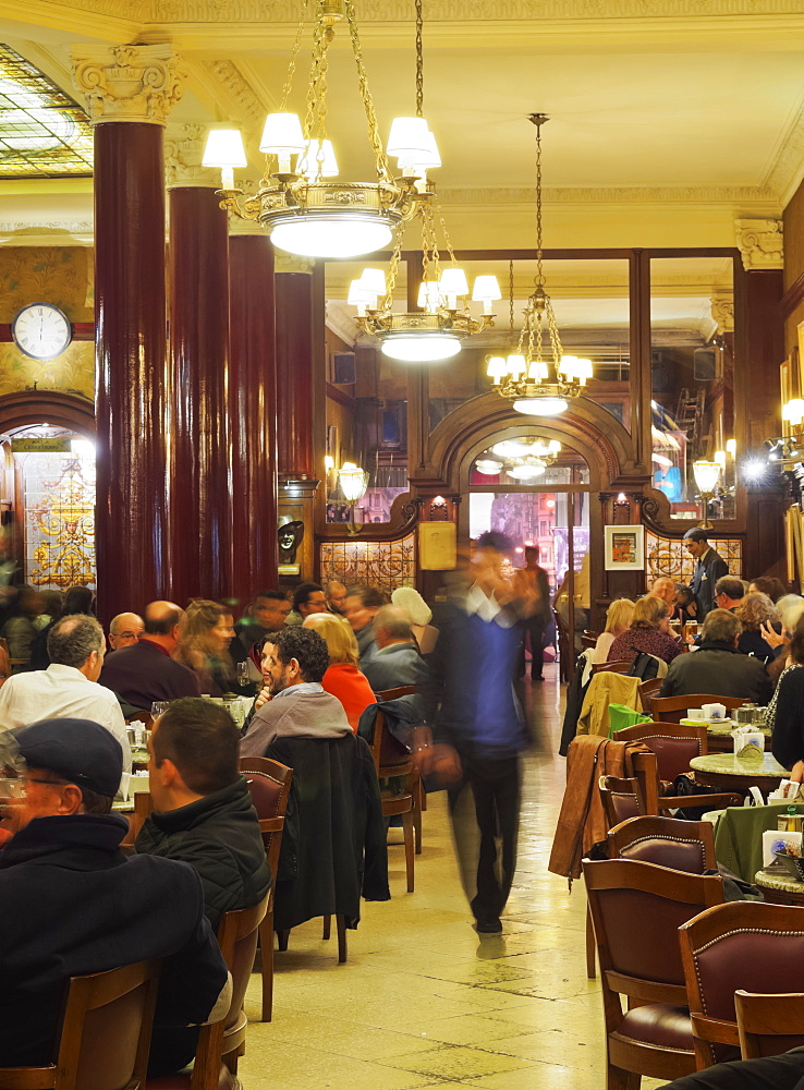 Interior view of the Cafe Tortoni, Avenida de Mayo, Buenos Aires, Buenos Aires Province, Argentina, South America