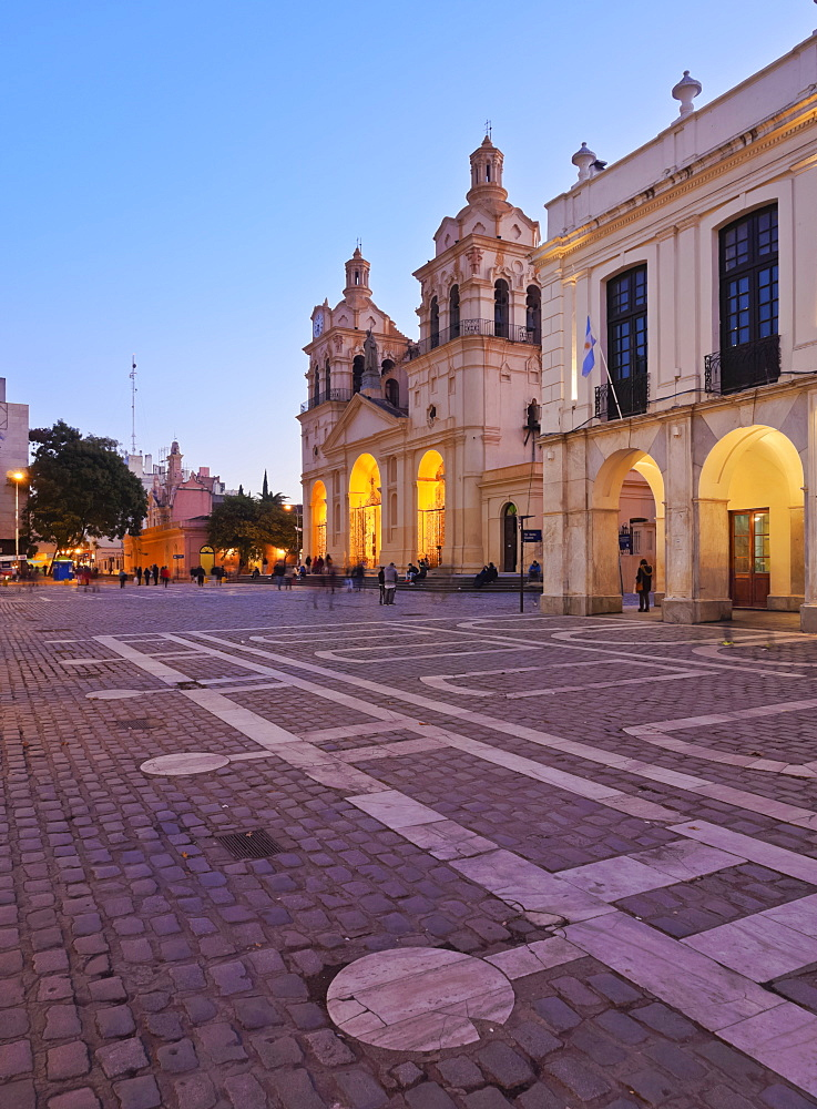 Twilight view of the Cathedral of Cordoba, Cordoba, Argentina, South America