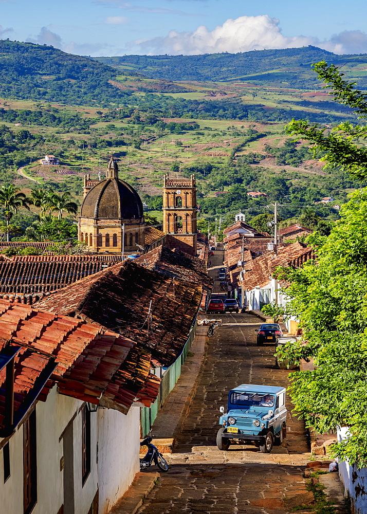 View towards La Inmaculada Concepcion Cathedral, Barichara, Santander Department, Colombia - 1245-1409