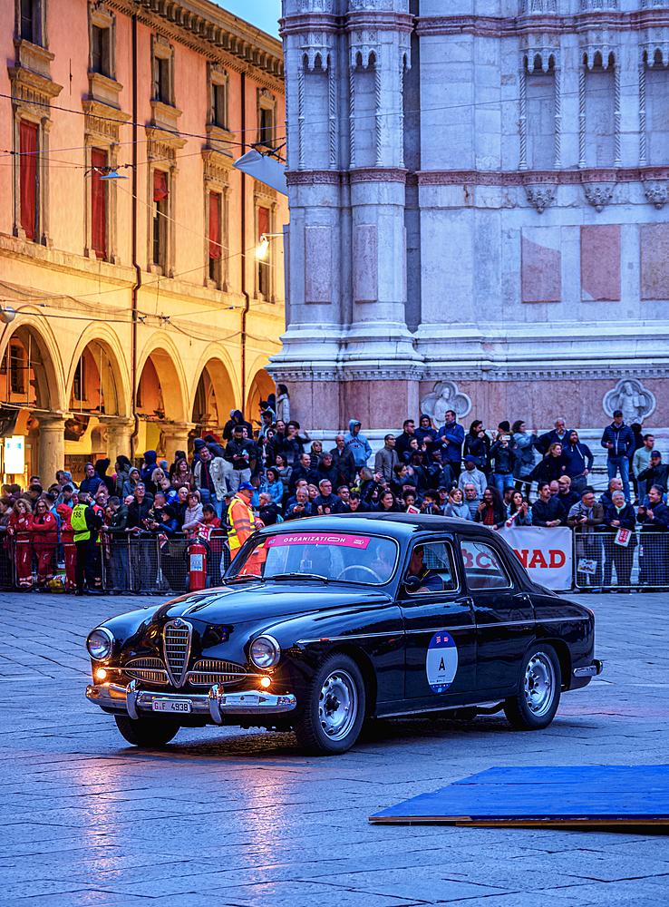 Alfa Romeo vintage car, 1000 Miglia at Piazza Maggiore, Bologna, Emilia-Romagna, Italy