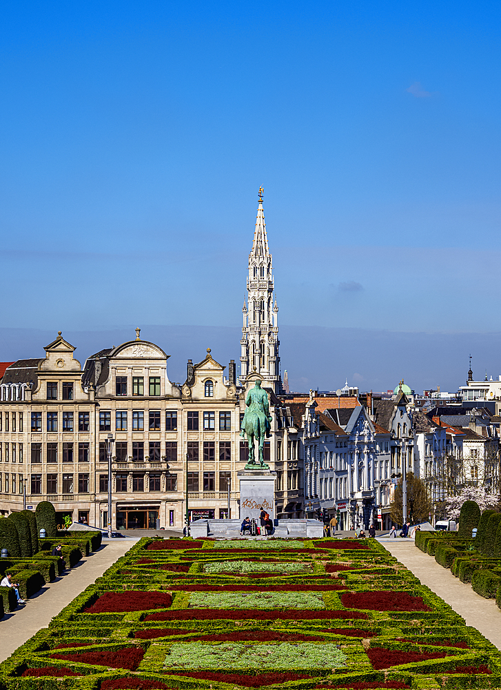 View over Mont des Arts Public Garden towards Town Hall Spire, Brussels, Belgium, Europe