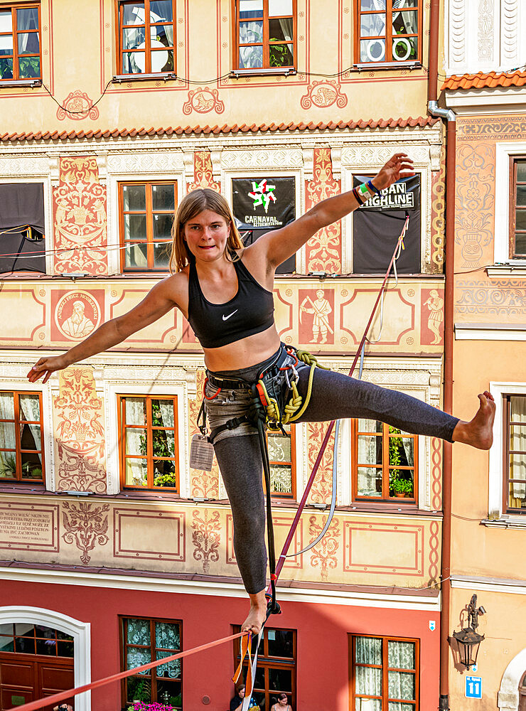 Highline Yoga at the Old Town Market Square, Urban Highline Festival, Lublin, Lublin Voivodeship, Poland