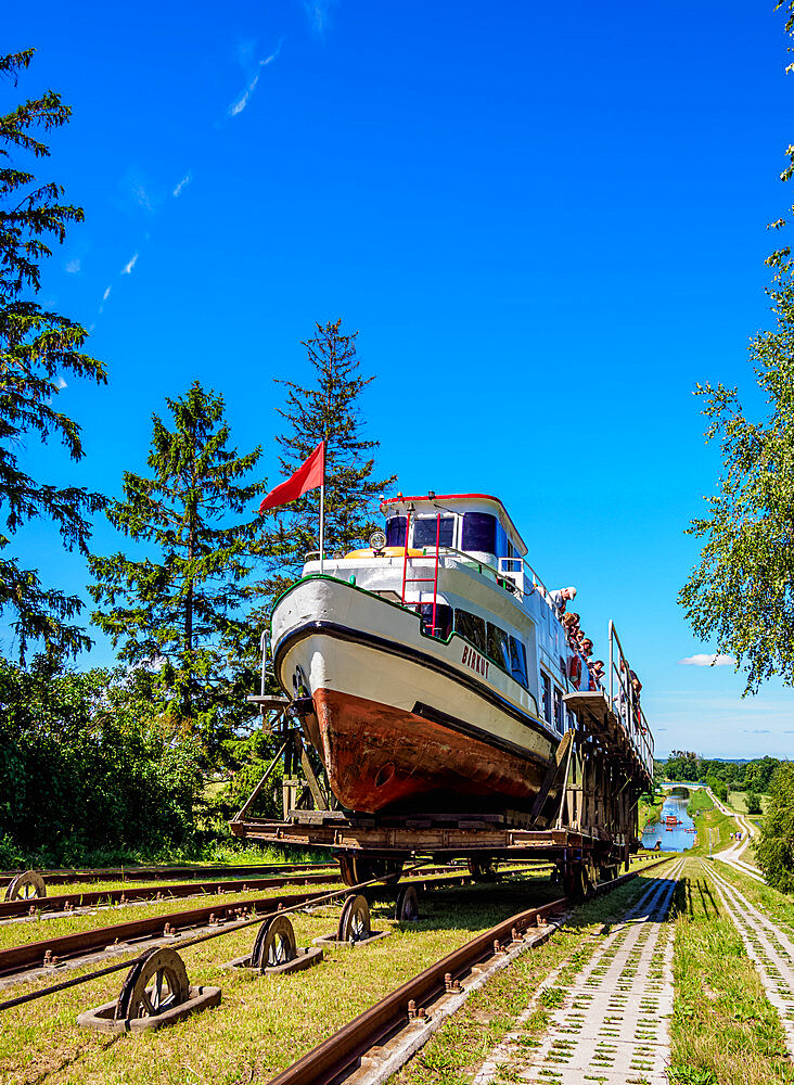 Tourist Boat in Cradle at Inclined Plane in Jelenie, Elblag Canal, Warmian-Masurian Voivodeship, Poland