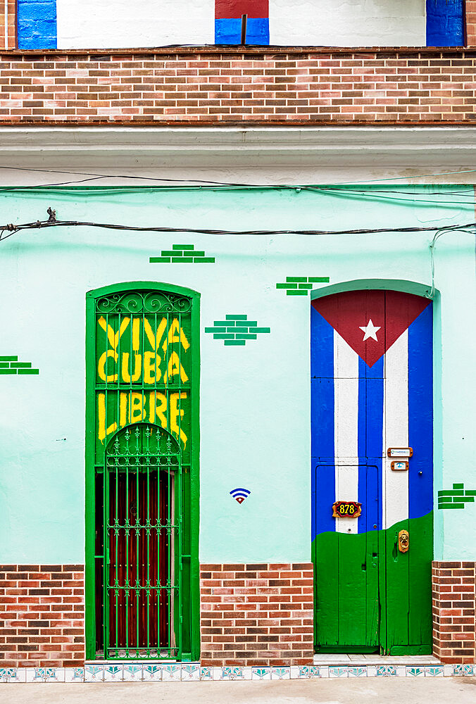 Colourful walls of Centro Habana, Havana, La Habana Province, Cuba, West Indies, Caribbean, Central America