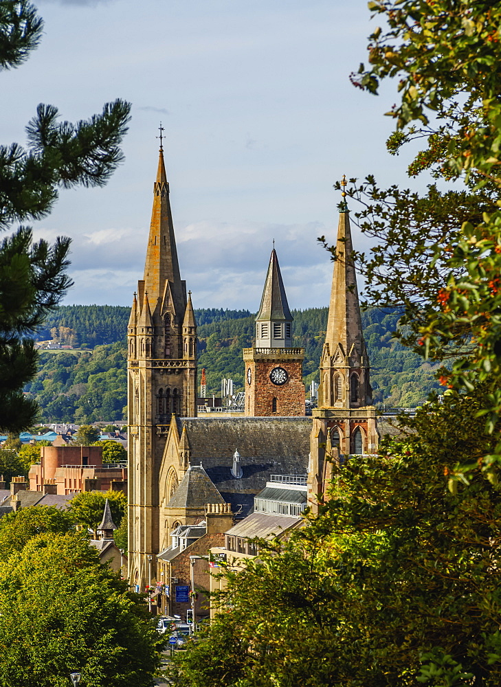 Elevated view of the Church Towers, Inverness, Highlands, Scotland, United Kingdom, Europe