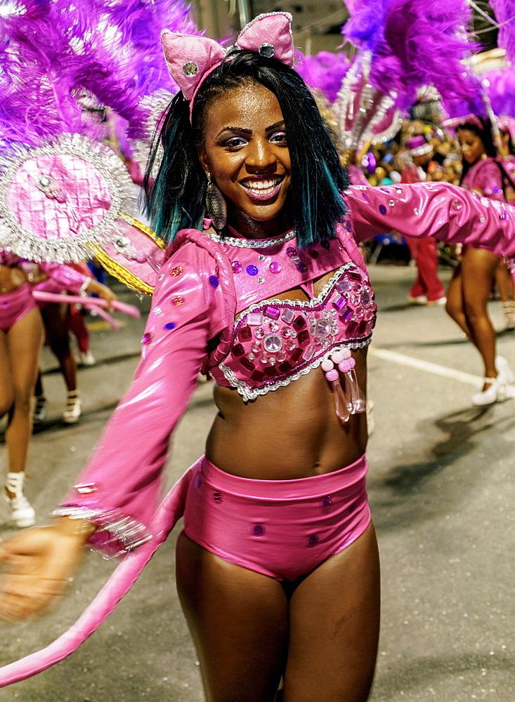 Samba dancer in the Carnival Parade, City of Rio de Janeiro, Rio de Janeiro State, Brazil, South America