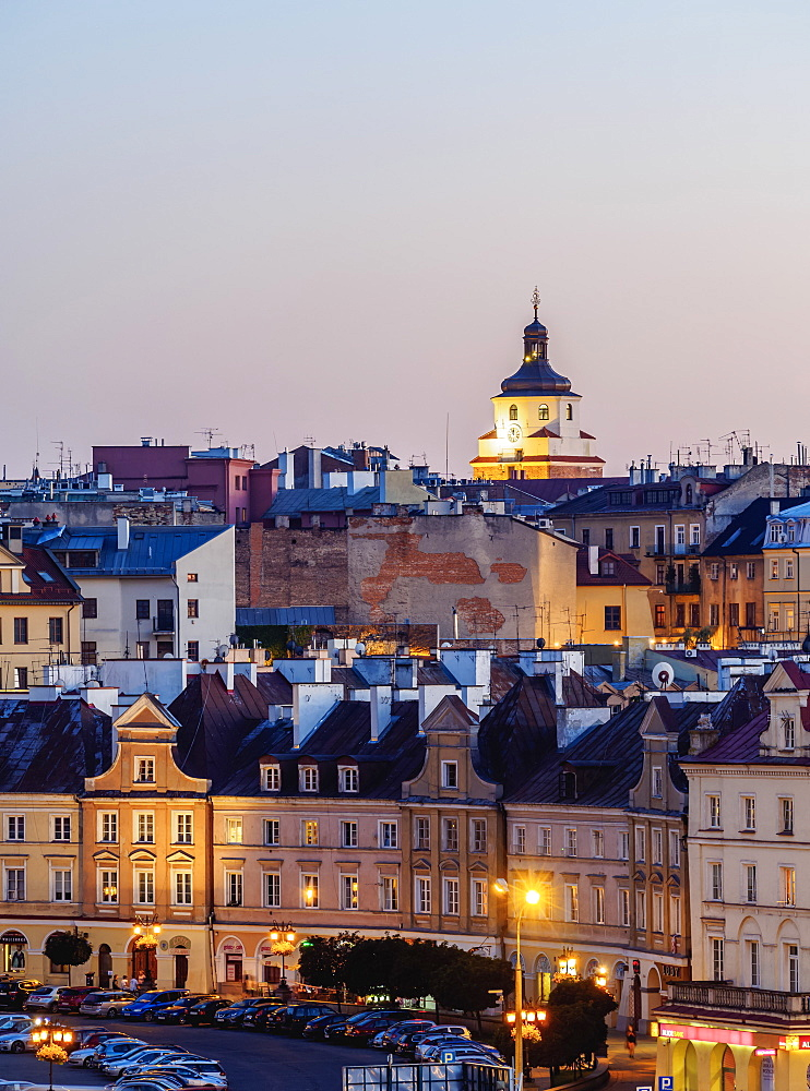 Old Town skyline at twilight, City of Lublin, Lublin Voivodeship, Poland, Europe