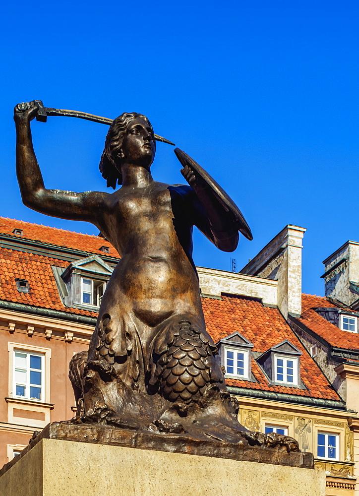 Poland, Masovian Voivodeship, Warsaw, Old Town Market Place, The Warsaw Mermaid