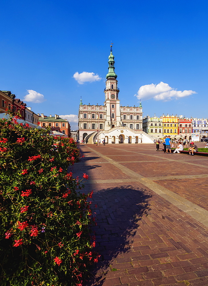 Poland, Lublin Voivodeship, Zamosc, Old Town, Market Square and City Hall