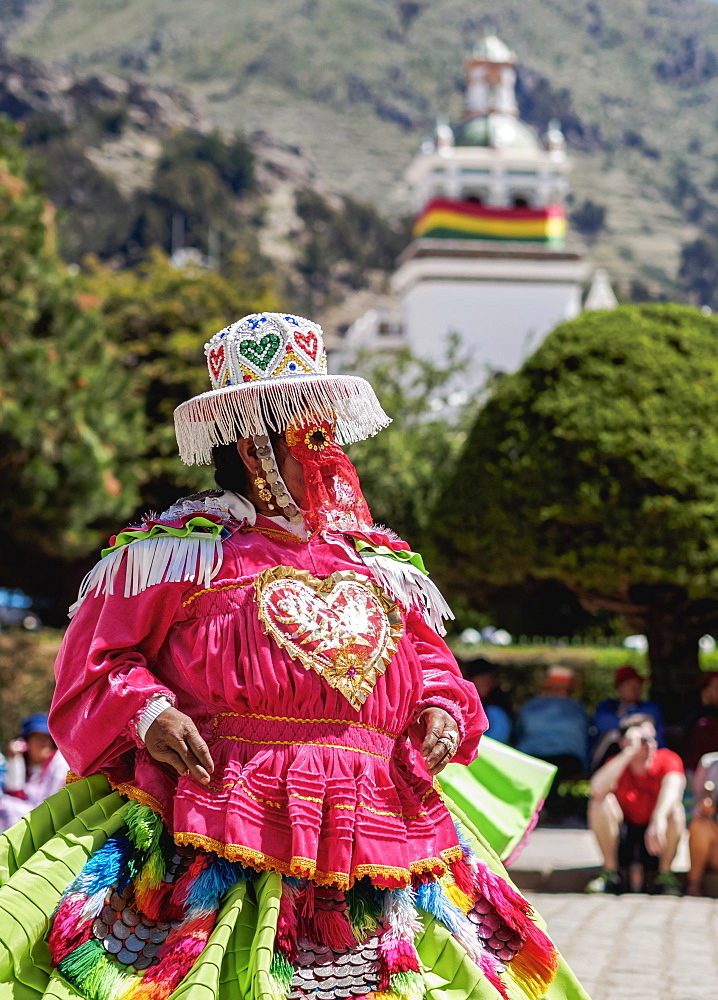 Dancer in traditional costume, Fiesta de la Virgen de la Candelaria, Copacabana, La Paz Department, Bolivia, South America