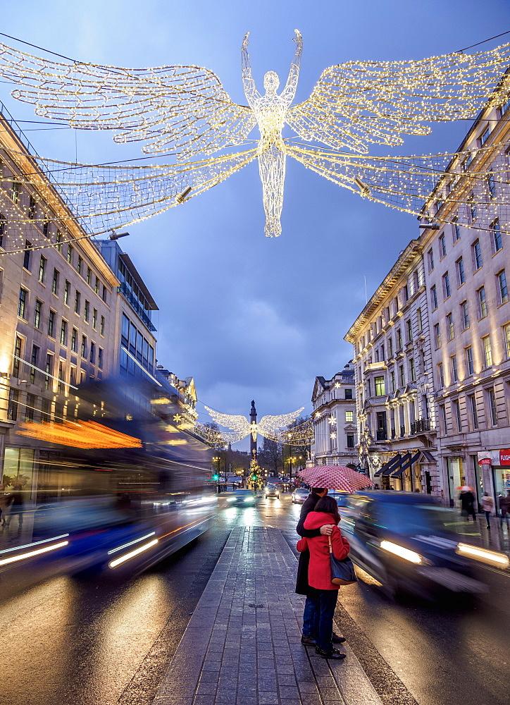 Regent Street with Christmas Illuminations at twilight, London, England, United Kingdom