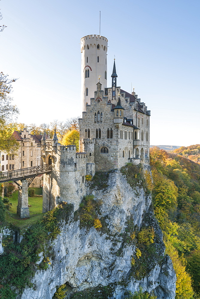 Lichtenstein castle in autumn. Lichtenstein, Baden-Württemberg, Germany - 1251-408