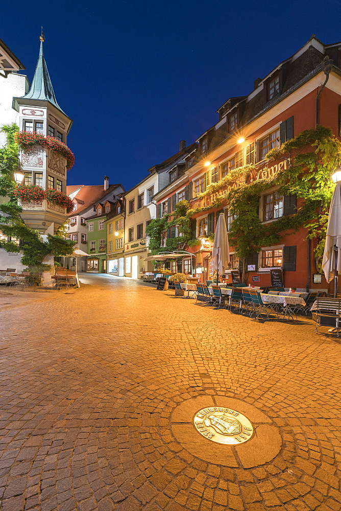 Square in the Upper Town at dusk, Meersburg, Baden-Wurttemberg, Germany, Europe - 1251-428