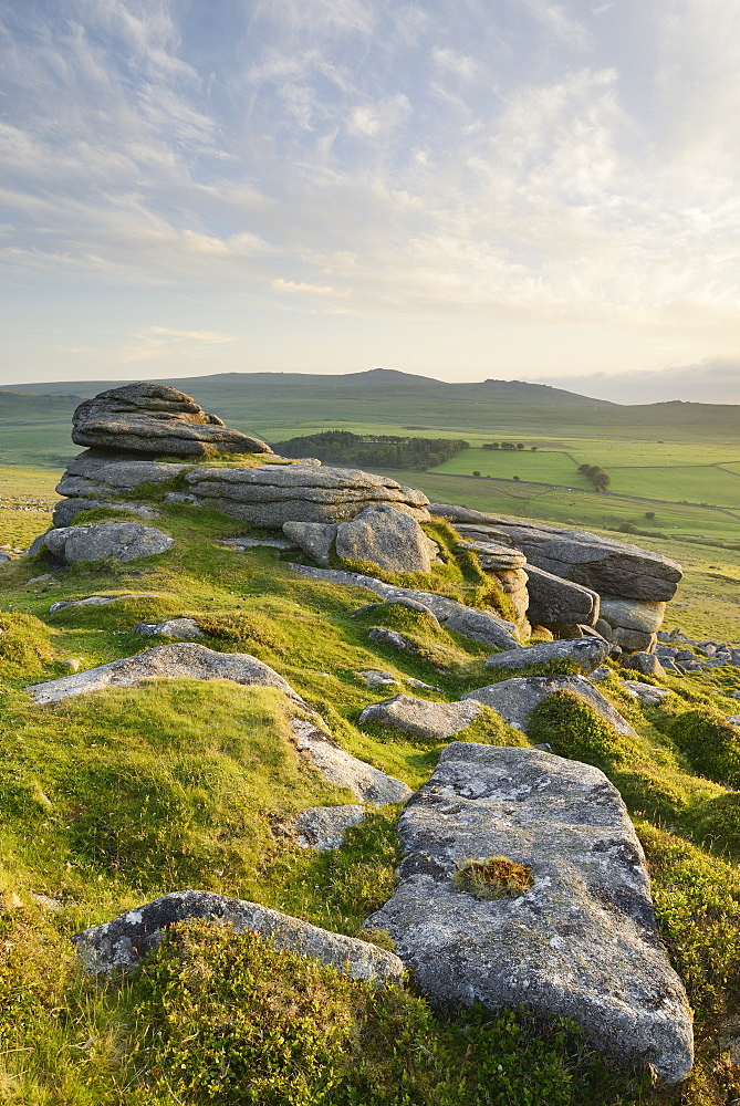 View from Belstone Common looking west towards Yes Tor on the northern edge of Dartmoor, Devon, England, United Kingdom, Europe