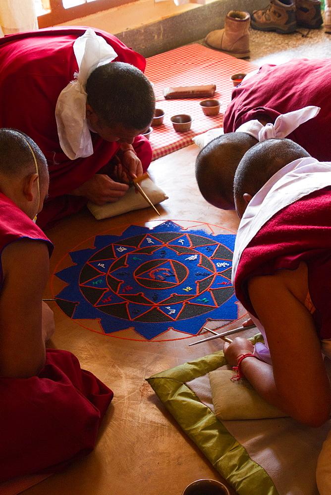 Buddhist monks making a sacred Mandala, Gyuto Tantric Monastery, Dharamsala, Himachal Pradesh, India, Asia