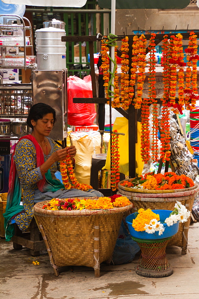 Flower garland seller on the streets of Kathmandu, Nepal, Asia - 1262-122