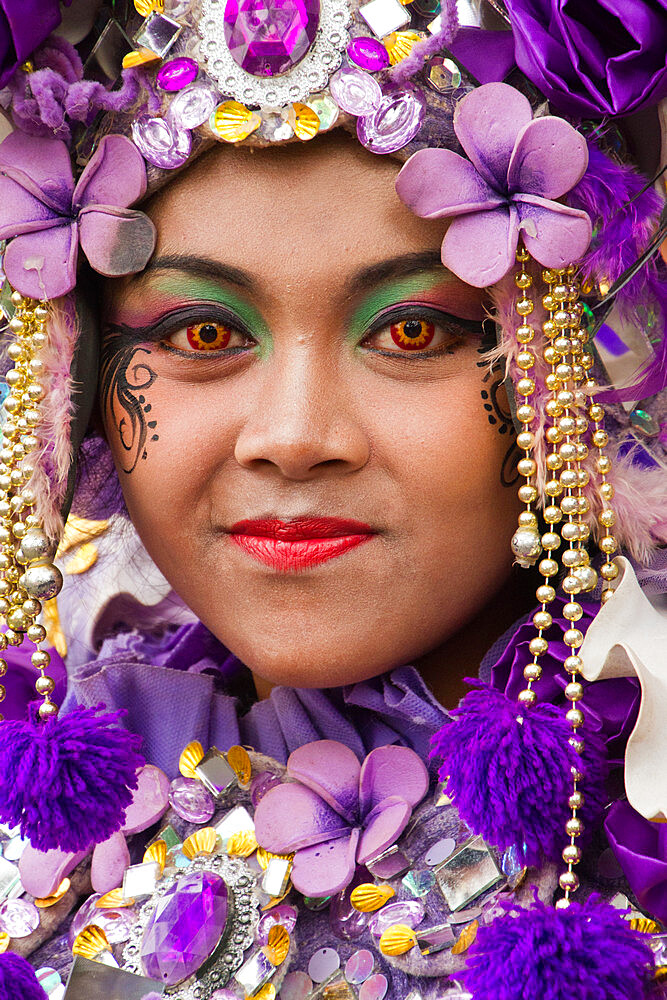 Indonesian woman of a carnival celebrating Malang?s 101st year anniversary, Malang, Indonesia - 1262-160