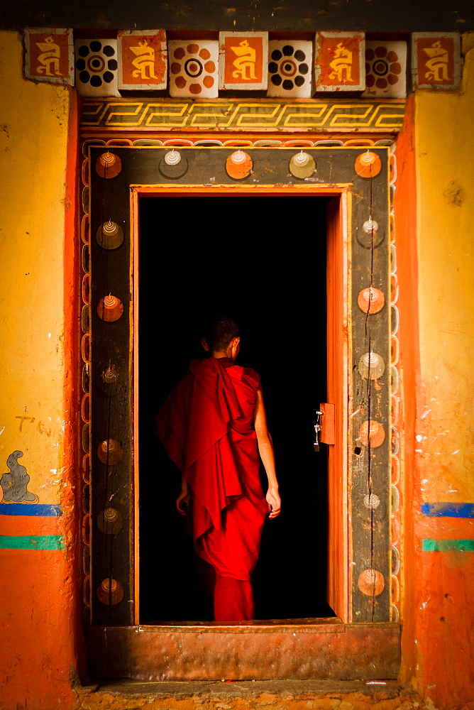 Novice Buddhist monk of Rinpung Fortress Monastery, Paro, Bhutan, Asia