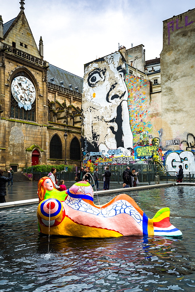 The Stravinsky Fountain on Place Igor Stravinsky next to the Centre Pompidou in the historical Beaubourg district, Paris, France, Europe - 1263-84