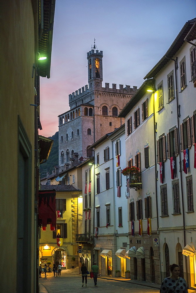Consoli's Palace after sunset, Gubbio, Umbria, Italy, Europe - 1264-63
