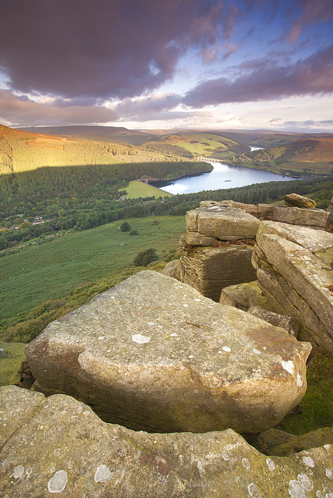 Ladybower Reservoir from the gritstone escarpment of Bamford Edge at sunrise in spring, Bamford, Peak District, Derbyshire, England, United Kingdom, Europe - 1266-11