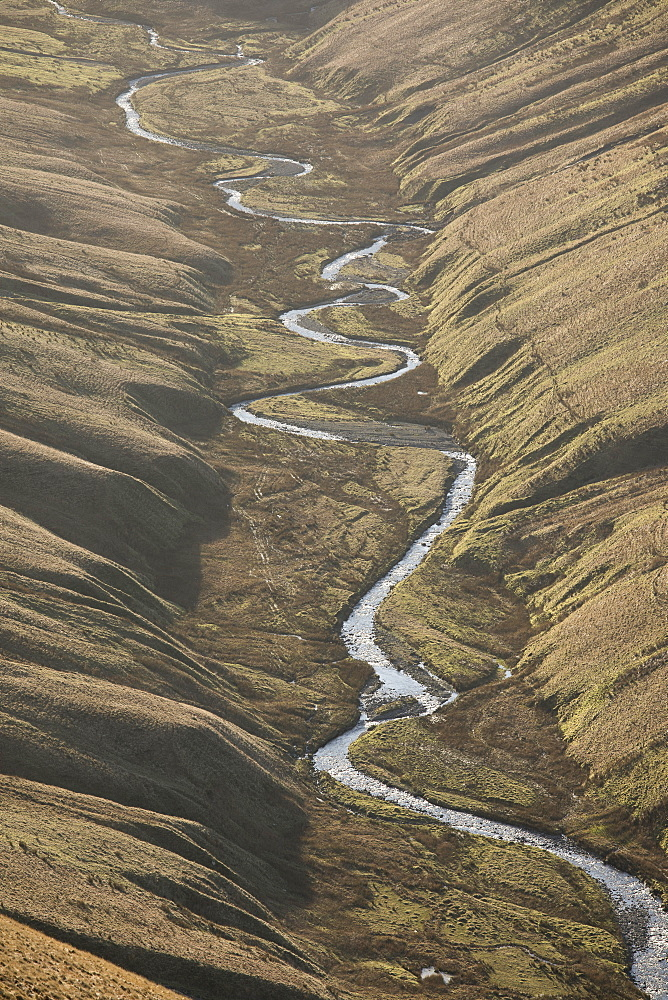 View down Langdale Beck in winter in the Howgill Fells near Sedbergh, Cumbria, England, United Kingdom, Europe - 1266-114