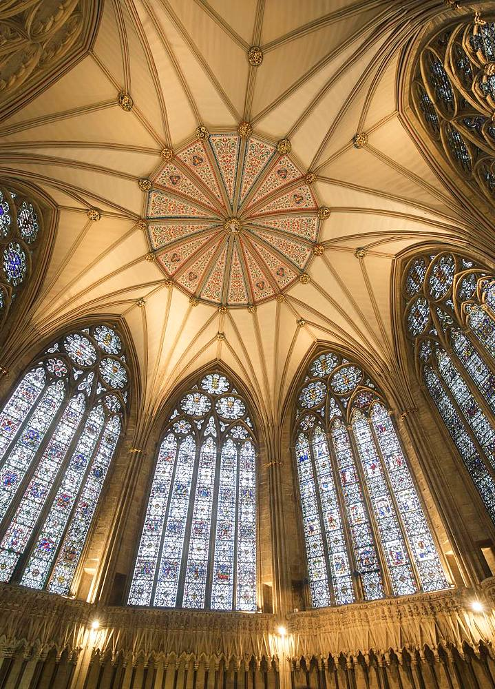 The decorative Chapter House ceiling and its stained glass windows inside York Minster, York, North Yorkshire, England, United Kingdom, Europe - 1266-130