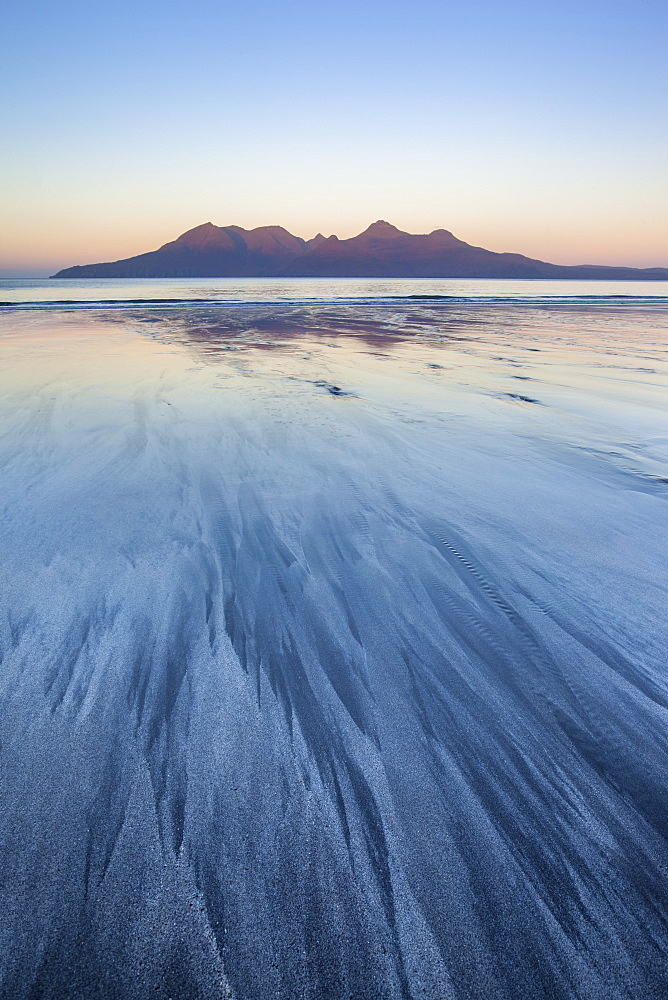 The Isle of Rum from Singing Sands on the Isle of Eigg, Small Isles, Inner Hebrides, Scottish Highlands, Scotland, United Kingdom, Europe - 1266-59