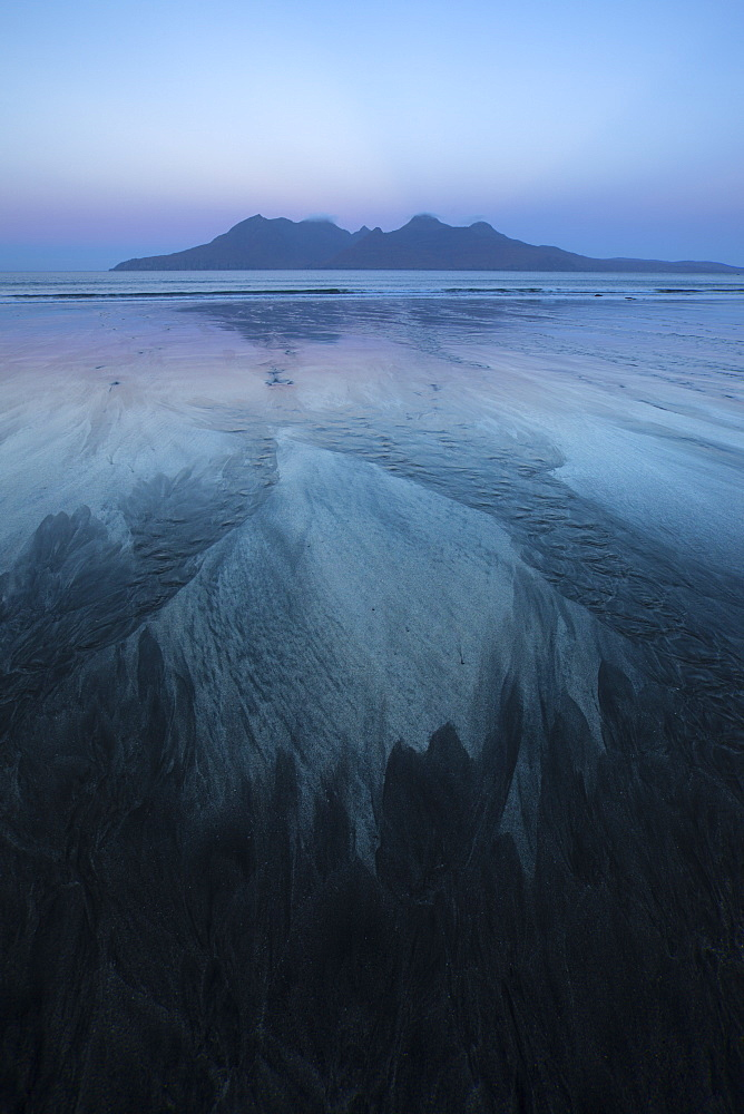 The Isle of Rum from Singing Sands on the Isle of Eigg, Small Isles, Inner Hebrides, Scottish Highlands, Scotland, United Kingdom, Europe - 1266-61