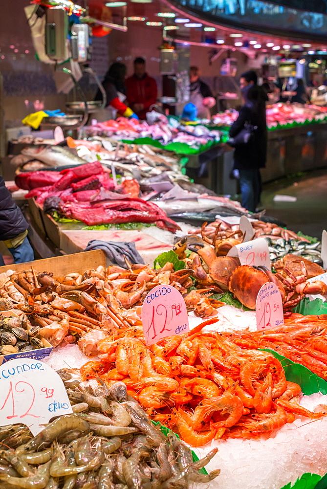 Fish stalls at Boqueria market, La Rambla, Barcelona, Catalonia, Spain, Europe