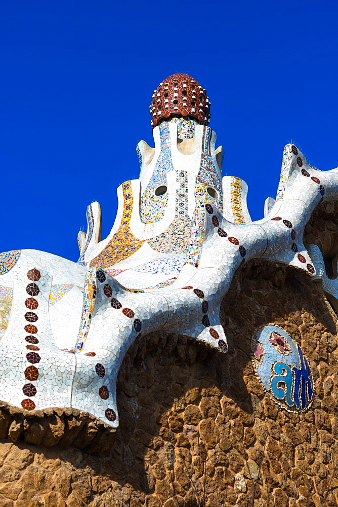 Park Guell house at Parc Guell by architect Antoni Gaudi. Barcelona, Catalonia, Spain. - 1267-193