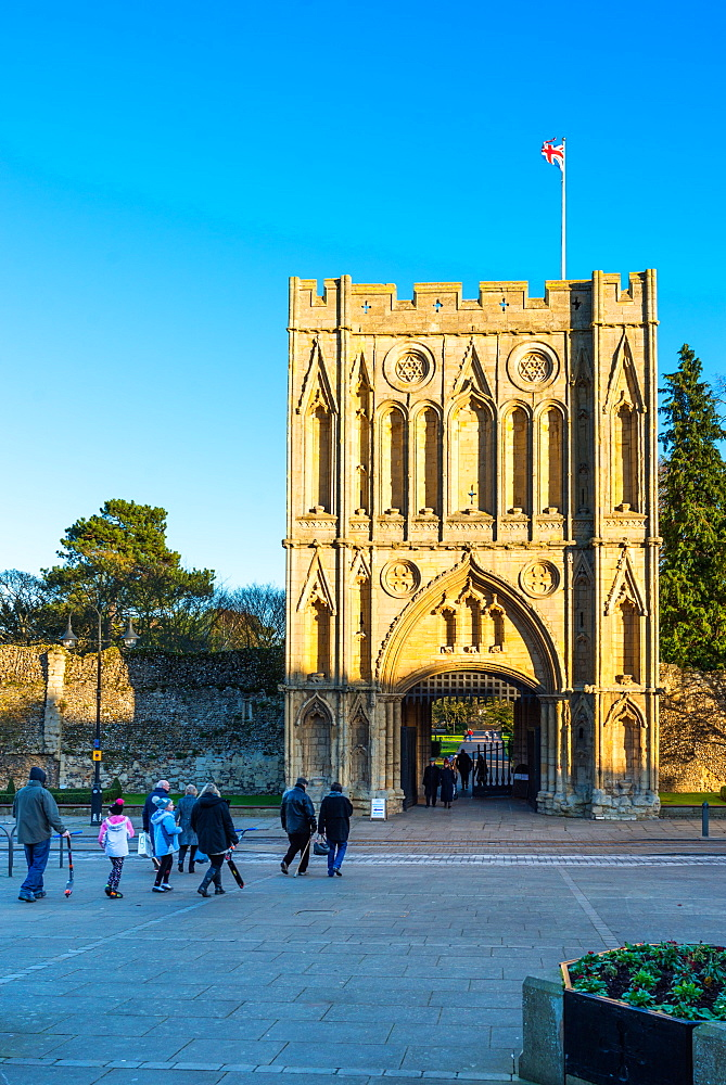 Abbeygate (Great Gate), a medieval tower giving access to the Abbey Gardens and the site of the medieval abbey ruins, Bury St. Edmunds, Suffolk, England, United Kingdom, Europe - 1267-237