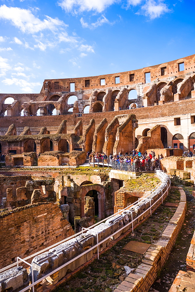 The Colosseum (Flavian Amphitheatre), with the below ground level hypogeum, UNESCO World Heritage Site, Rome, Lazio, Italy, Europe - 1267-288