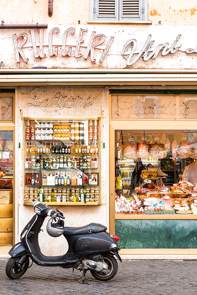 Traditional grocery store with scooter at Campo de' Fiori square, Rome, Lazio, Italy, Europe - 1267-311