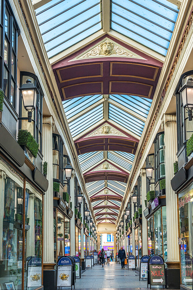 The Arcade between Broadmead and The Horsefair is a delightful 18th century shopping arcade. Bristol. Avon. England. UK. - 1267-517