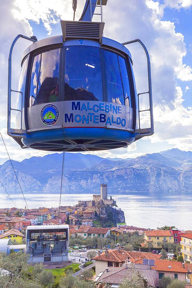 Cable car coming to the village of Malcesine, Garda Lake, Verona province, Veneto, Italy, Europe. - 1269-141