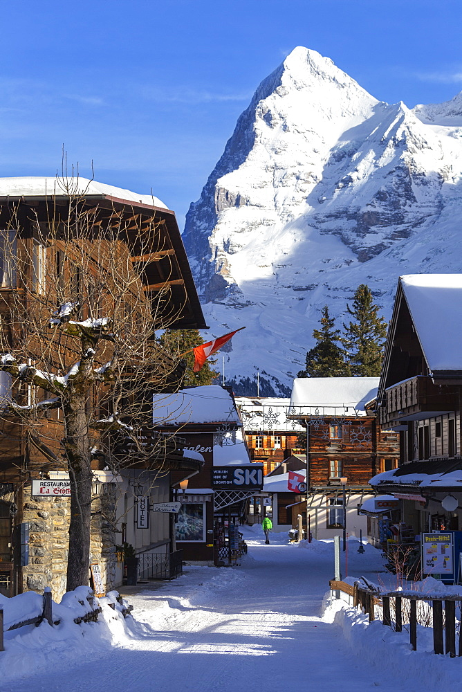 Traditional houses with Eiger in the background. Murren, Lauterbrunnen valley, Canton of Bern, Switzerland, Europe. - 1269-430