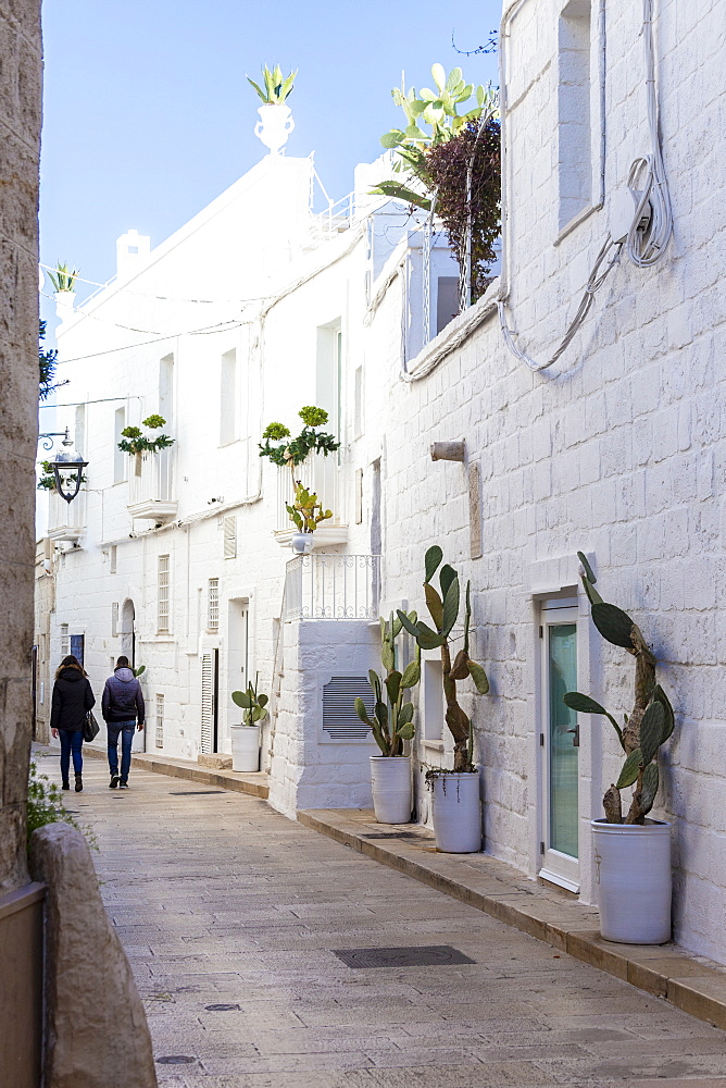 Narrow white street in the historic centre of Monopoli, Apulia, Italy, Europe.
