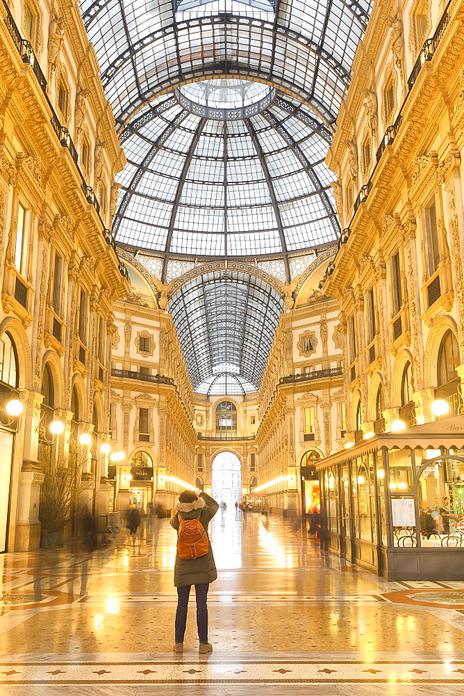 Morning scene of Galleria Vittorio Emanuele II, Milan, Lombardy, Northern Italy, Italy, Europe - 1269-89