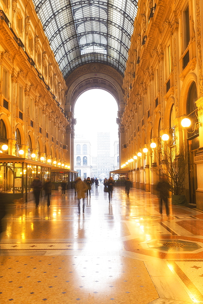 Morning scene in the Galleria Vittorio Emanuele II, Milan, Lombardy, Northern Italy, Italy, Europe