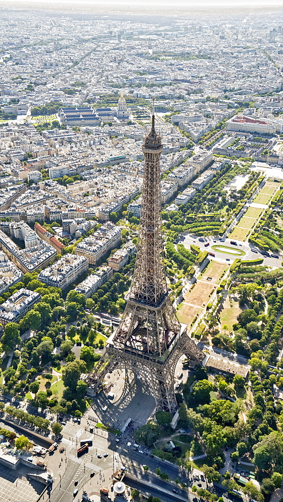 Aerial view of the Eiffel Tower, Paris, France, Europe - 1274-2