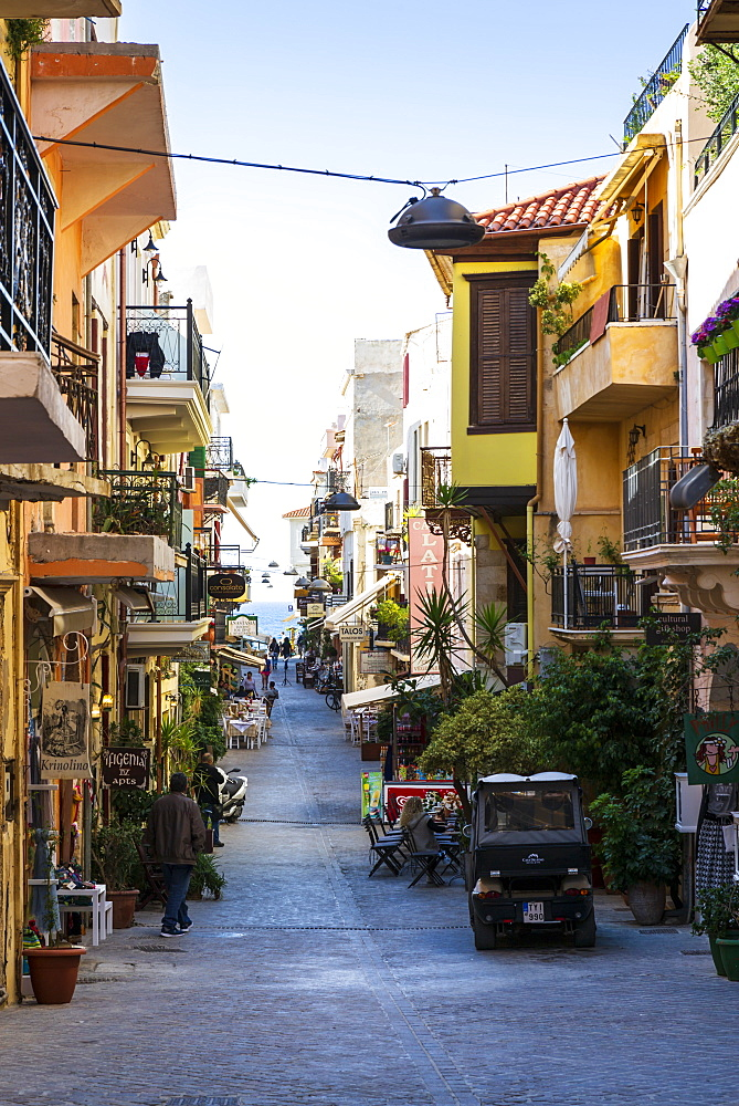 Tourist street in Chania, Crete, Greek Islands, Greece, Europe