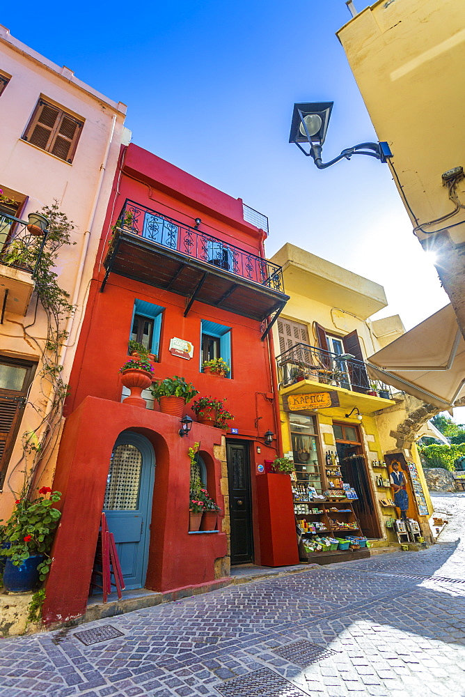 Colourful buildings, Crete, Greek Islands, Greece, Europe