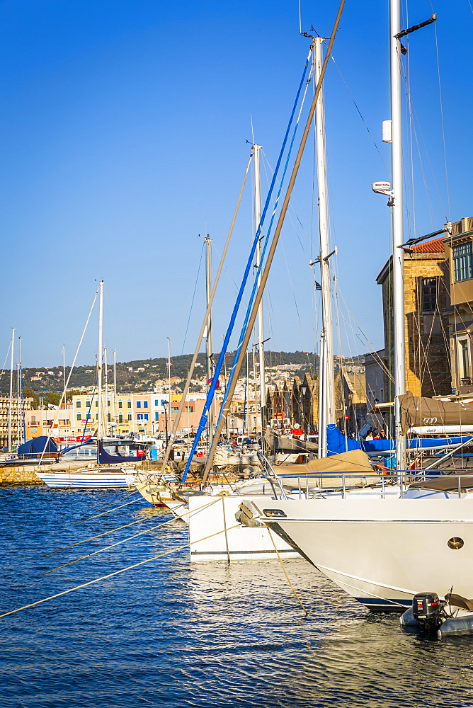 Yachts at Venetian Harbour, Chania, Crete, Greek Islands, Greece, Europe