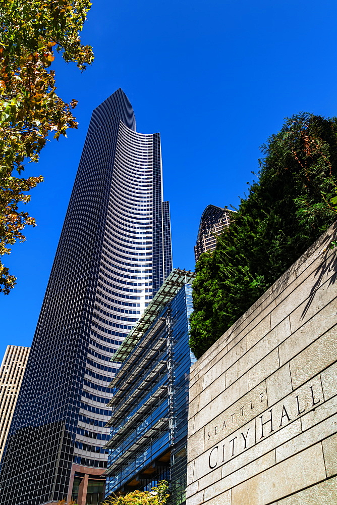 Seattle City Hall, Columbia Center Building and ATT Gateway Tower, Seattle, Washington USA