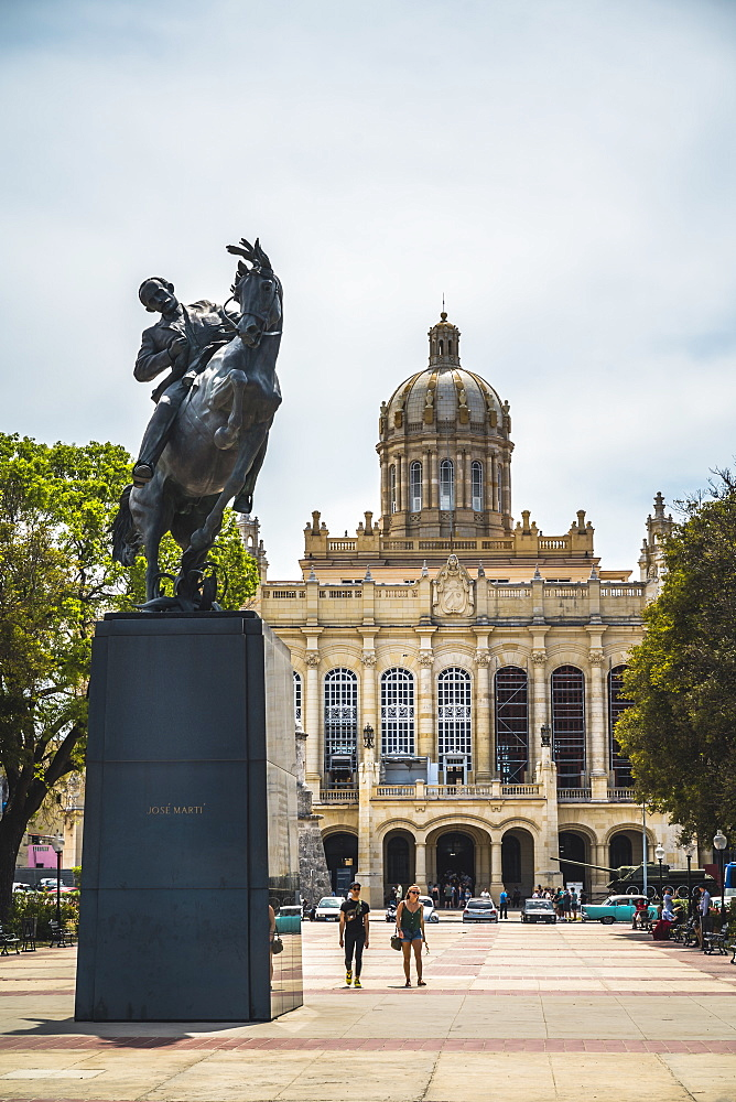 The former Presidential Palace,the Museum of the Revolution and Jose Marti statute in Old Havana, Cuba, West Indies, Caribbean
