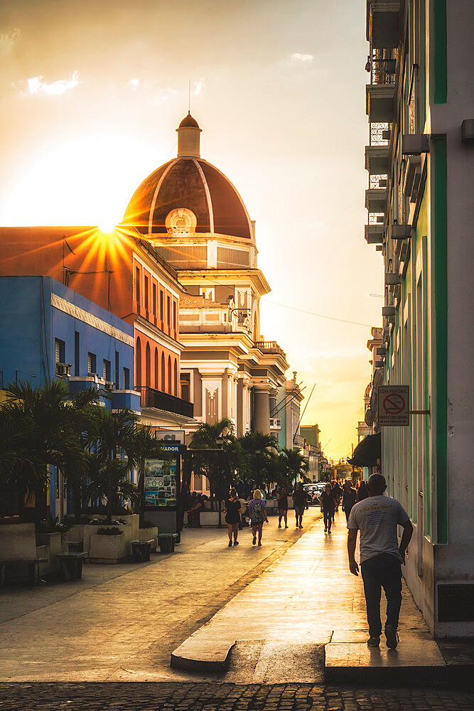 Antiguo Ayuntamiento, government building at sunset, UNESCO World Heritage Site, Cienfuegos, Cuba, West Indies, Caribbean