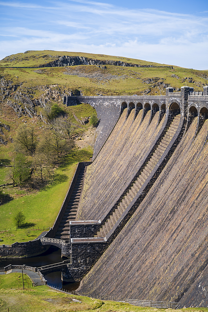 Claerwen dam in the Elan Valley in Wales, United Kingdom