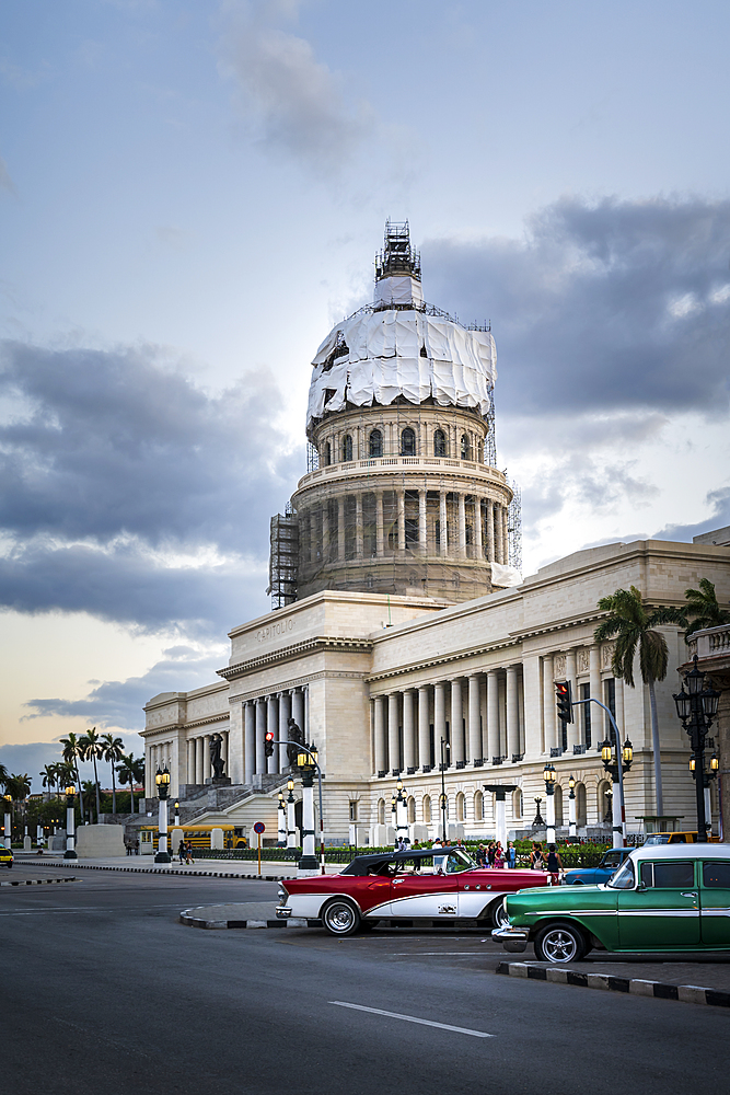 El Capitolio building at dusk, UNESCO World Heritage Site, Havana, Cuba, West Indies, Caribbean, Central America